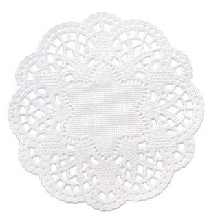 Embellishments / Verzierungen 24 Spitzendeckchen rund 10 cm, weiß