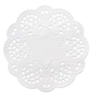 Embellishments / Verzierungen 24 tapetes de encaje alrededor de 10 cm, blanco.