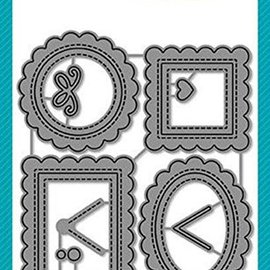 Elisabeth Craft Dies , By Lene, Lawn Fawn Punching and embossing templates: 4 mini decorative frames