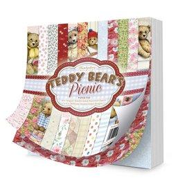 Hunkydory Luxus Sets Teddybärs Picknick, 20 x 20 cm, Papierblock. zum Basteln mit Papier, Karten Gestaltung, Scrapbook u.a. diy Projekte