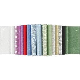 Karten und Scrapbooking Papier, Papier blöcke Papierblätter mit Glitter, A4 210x297 mm, 150 g, 15 Blatt!