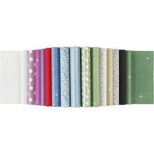 Karten und Scrapbooking Papier, Papier blöcke Fogli di carta con glitter, A4 210x297 mm, 150 g, 15 fogli!