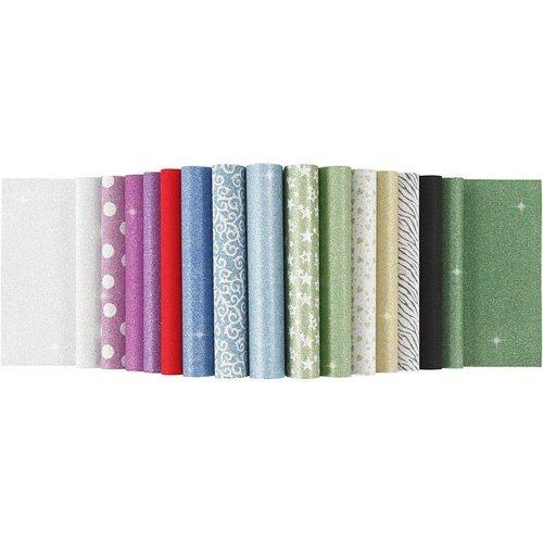 Karten und Scrapbooking Papier, Papier blöcke Feuilles de papier glitter, A4 210x297 mm, 150 g, 15 feuilles!