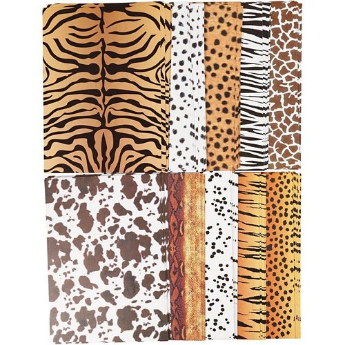 Karten und Scrapbooking Papier, Papier blöcke 10 sheets, designer cardboard animal fur mills printed, A4 210x297 mm, 300 g