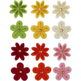 Embellishments / Verzierungen Filzblumen mit Strassstein, D: 30 mm, Stärke: 2,5 mm