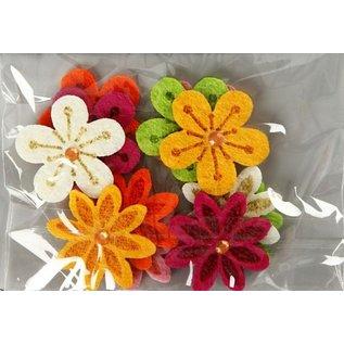 Embellishments / Verzierungen Vilten bloemen met strass, D: 30 mm, dikte: 2,5 mm