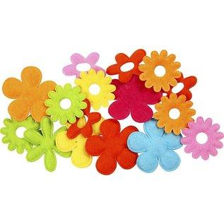 Embellishments / Verzierungen 16 kleurrijke, gewatteerde vilten bloemen in 5 verschillende vormen