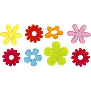 Embellishments / Verzierungen 16 colorful, wadded felt flowers in 5 different shapes
