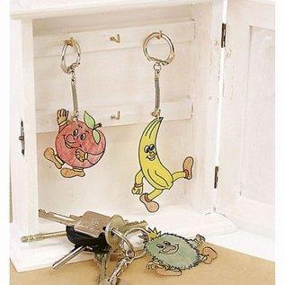 BASTELZUBEHÖR, WERKZEUG UND AUFBEWAHRUNG 5 Schlüsselanhänger, D: 2,3 cm, L 6 cm