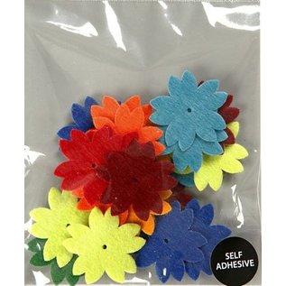Embellishments / Verzierungen 24 vilten bloemen, D: 3,5 cm, dikte: 1 mm, zelfklevend