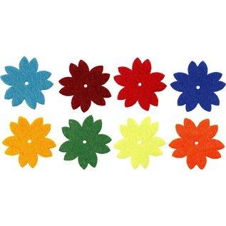 Embellishments / Verzierungen 24 Filz-Blüten, D: 3,5 cm, Stärke: 1 mm, Selbstklebend