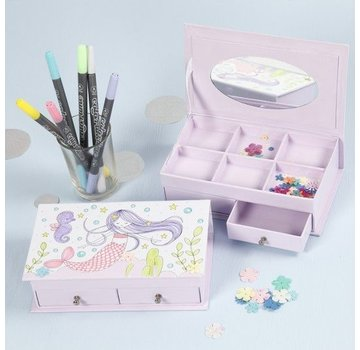 Kinder Bastelsets / Kids Craft Kits 1 boîte à bijoux, taille 18x10,5 cm, H 5 cm, blanc