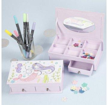 Kinder Bastelsets / Kids Craft Kits 1 scatola di gioielli, dimensioni 18x10,5 cm, H 5 cm, bianco