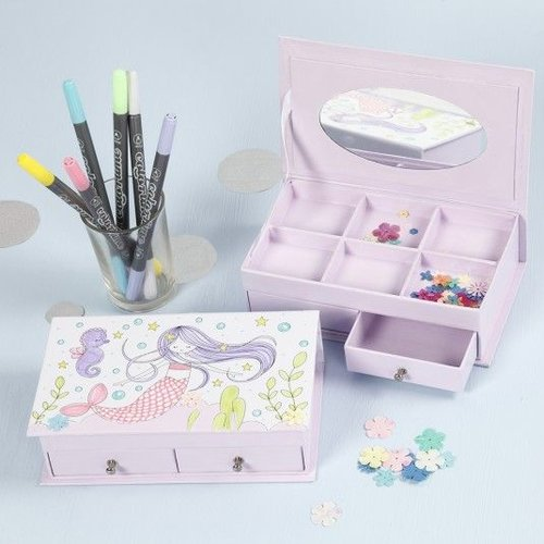 Kinder Bastelsets / Kids Craft Kits 1 smykkeskrin, størrelse 18x10,5 cm, H 5 cm, hvid