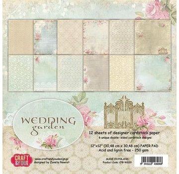Designer Papier Scrapbooking: 30,5 x 30,5 cm Papier Blocco di carta, 30,5 x 30,5 cm, Wedding Garden