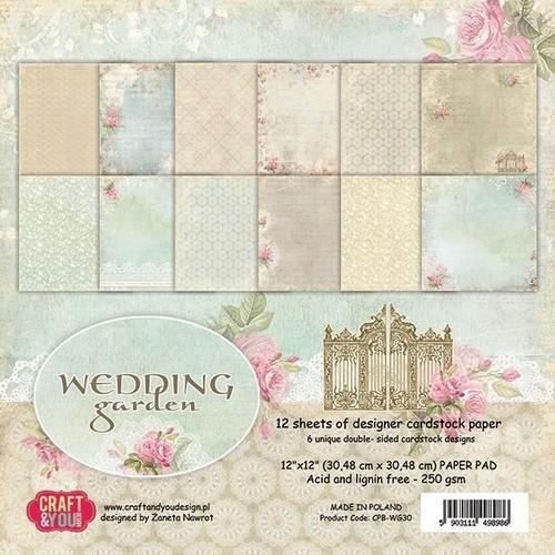 Designer Papier Scrapbooking: 30,5 x 30,5 cm Papier Papierblock, 30,5 x 30,5 cm, Wedding Garden