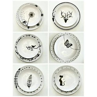 FARBE / STEMPELKISSEN Glas en Porcelanpen Brillant contour zwarte porseleinen pen