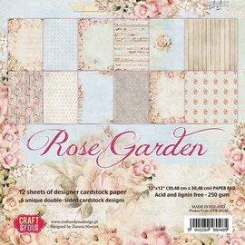 Designer Papier Scrapbooking: 30,5 x 30,5 cm Papier Papirblok, 30,5 x 30,5 cm, Rose garden