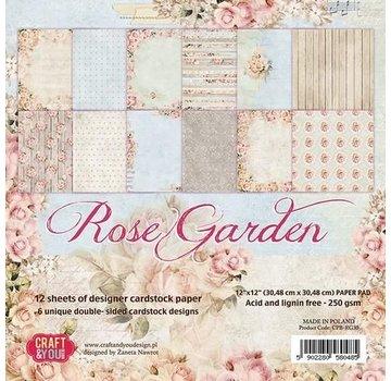 Designer Papier Scrapbooking: 30,5 x 30,5 cm Papier Paper block, 30.5 x 30.5 cm, Rose garden