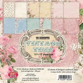 Vintage, Nostalgia und Shabby Shic Scrapbook and Cards Paper Block, 30,5 x 30,5 cm, Vintage Time