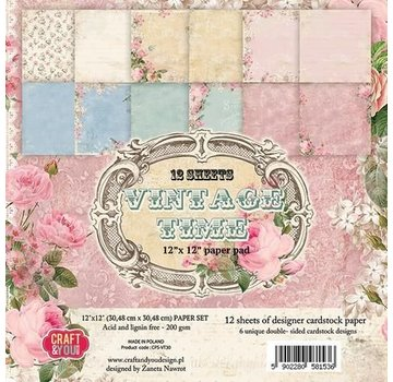 Vintage, Nostalgia und Shabby Shic Scrapbook and Cards Paper Block, 30.5 x 30.5 cm, Vintage Time