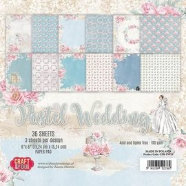 Karten und Scrapbooking Papier, Papier blöcke Papirblok, pastell bryllup, 15,24 x 15,24 cm