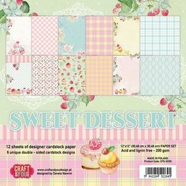 Karten und Scrapbooking Papier, Papier blöcke Bloc de papier, 30,5 x 30,5 cm, dessert sucré
