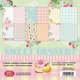 Karten und Scrapbooking Papier, Papier blöcke Papirblok, 30,5 x 30,5 cm, sød dessert