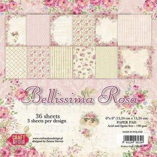 Karten und Scrapbooking Papier, Papier blöcke Papieren blok, Bellissima Rose, 15,24 x 15,24 cm
