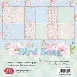 Designer Papier Scrapbooking: 30,5 x 30,5 cm Papier Scrapbook and Cards Paper Block, 30.5 x 30.5 cm, Bird Song