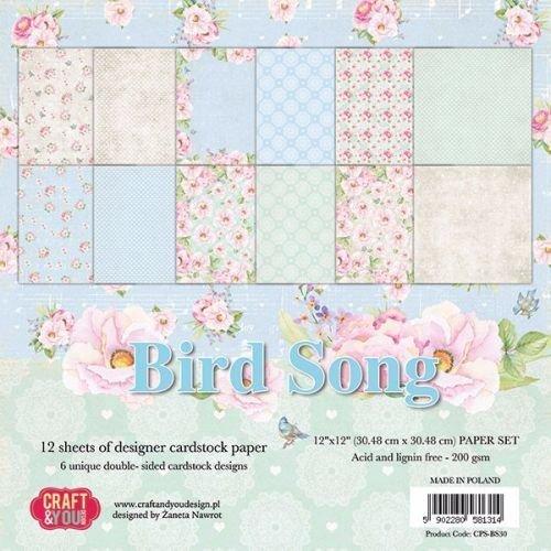 Designer Papier Scrapbooking: 30,5 x 30,5 cm Papier Scrapbog og kort papirblok, 30,5 x 30,5 cm, Bird Song
