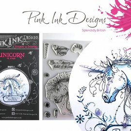CREATIVE EXPRESSIONS und COUTURE CREATIONS Pink Ink Desings: Set Unicorn, A5 Stempel, til Design ved 3D Scene!