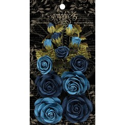 Franske blå blomster med blade og knopper, i alt 15 stk
