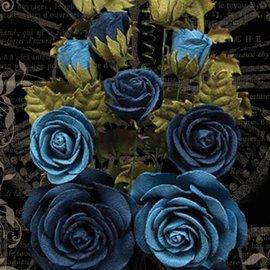 GRAPHIC 45 Fleurs bleues françaises avec feuilles et boutons, total 15 pièces