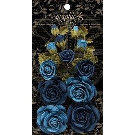 GRAPHIC 45 Franske blå blomster med blader og knopper, totalt 15 stk