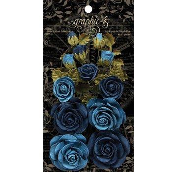 GRAPHIC 45 französische blaue Blumen mit Blätter und Knospen, insgesamt 15 Stück