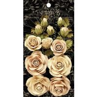 Graphic 45 Classic Ivory & Natural Linen Blumen, 15 Stück