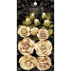 Grafisk 45 Classic Ivory & Natural Linen Flowers