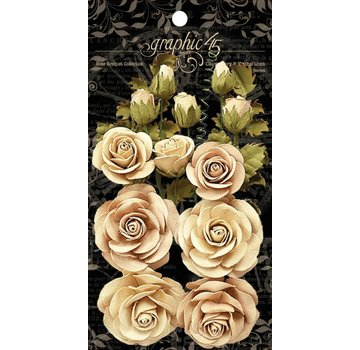 GRAPHIC 45 Grafisk 45 Classic Ivory & Natural Linen Flowers