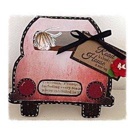Dutch DooBaDoo Plantilla artística para el diseño de tarjetas en forma de coche.
