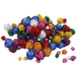 BASTELZUBEHÖR, WERKZEUG UND AUFBEWAHRUNG Pompons, D: 15-40 mm, ca. 25 Stck., Glitzerfarben, Glitter