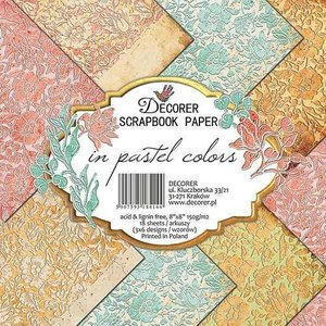 decorer Bloc de papier pour cartes et scrapbook, décorateur en couleurs pastel, 20x20 cm