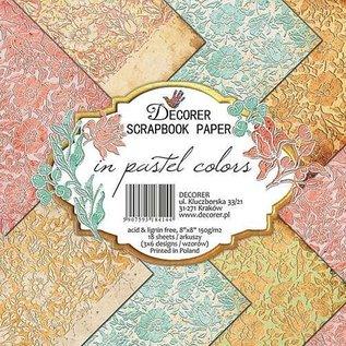 decorer Cards and Scrapbook Paper Block, Decorer In Pastel Colors, 20x20 cm