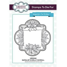 CREATIVE EXPRESSIONS und COUTURE CREATIONS Rubberstempel: Holly Scroll van Natalies