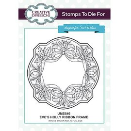 CREATIVE EXPRESSIONS und COUTURE CREATIONS Rubberstempel: Eve's Holly Ribbon Frame