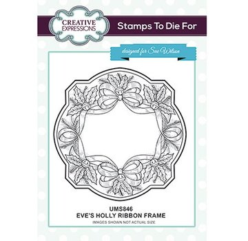 CREATIVE EXPRESSIONS und COUTURE CREATIONS Rubber Stamp: Eve's Holly Ribbon Frame