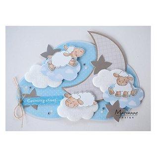 Marianne Design Motivo del francobollo, banner: Baby, Cute Animals - Pecora di Eline