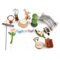Mini Garten Set,  Polyresin. Zur Gestaltung in Pflanzenkübel als Garten und Balkon Dekoration!