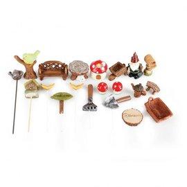 BASTELSETS / CRAFT KITS Mini Garden Set, Polyresin. Å designe i planter som hage og balkong dekorasjon!