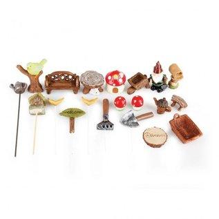 BASTELSETS / CRAFT KITS Mini Garten Set,  Polyresin. Zur Gestaltung in Pflanzenkübel als Garten und Balkon Dekoration!